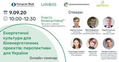 "Online seminar ""Energy crops for bioenergy projects: prospects for Ukraine"""
